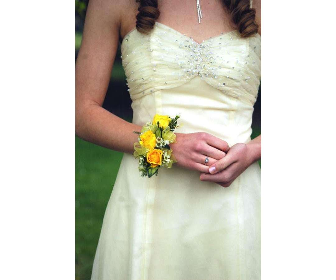 Yellow Roses Pearl Corsage