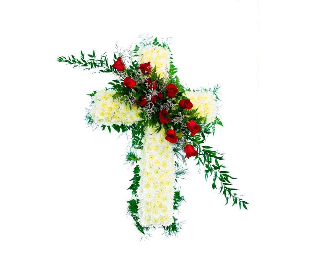 Cross with Rose spray